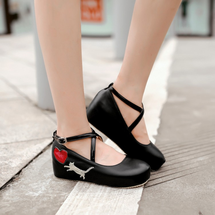 308658942c82 ... Japanese Kawaii Cat Heart Wedges Lolita Girly Platform Shoes DC350 -  Thumbnail 2 ...