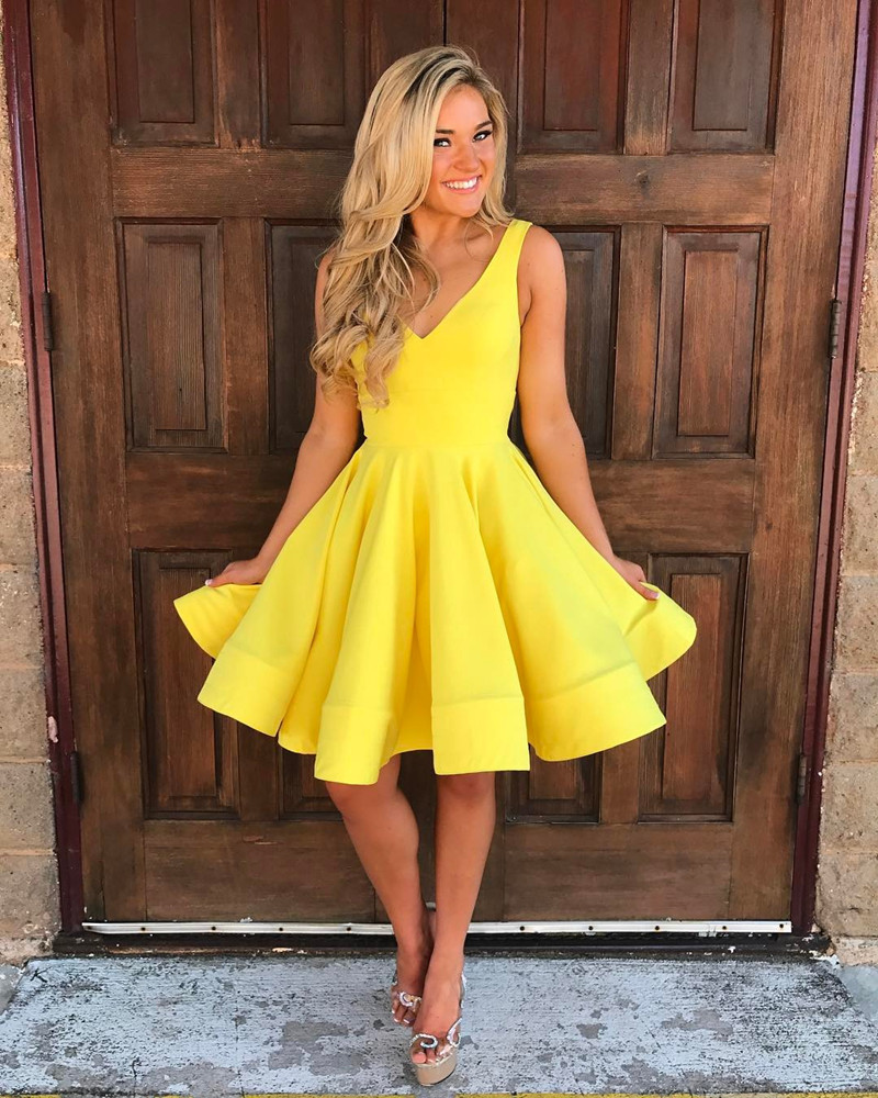 Yellow V Neck Swing Party Dress Short Prom Homecoming