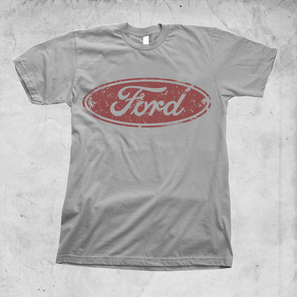 Vintage ford washed logo t shirt limited print mustang for Tee shirt logo printing