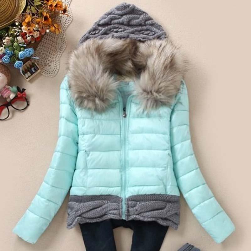 7e0fac41b6f0 1pc 2016 women winter coat cotton padded jacket short knitted hood fur  collar womens winter jackets