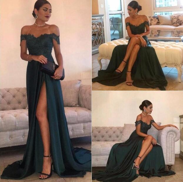72db192830 Sexy A Line Green Satin Prom Dress,Lace Off Shoulder Evening Dress ...