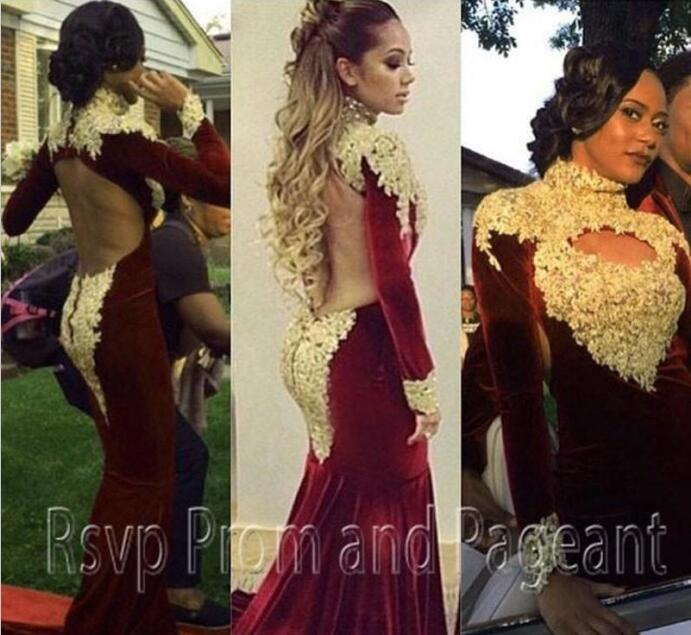 c5f5757a6aa High Neck Mermaid Long Sleeve Prom Dresses Gold Applique Backless Burgundy  Gorgeous Arabic Dubai Occasion Formal