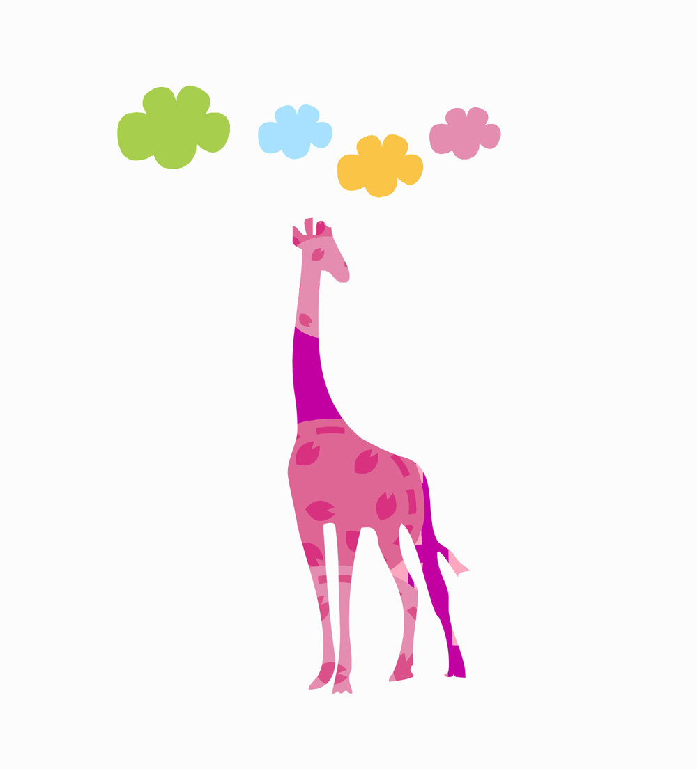 Giraffe Wall Decals Nursery Wall Decor Tall Pink Giraffe Colorful Cloud Decals Playroom Wall Decor Zoo Animal Decal Baby Shower Gift From