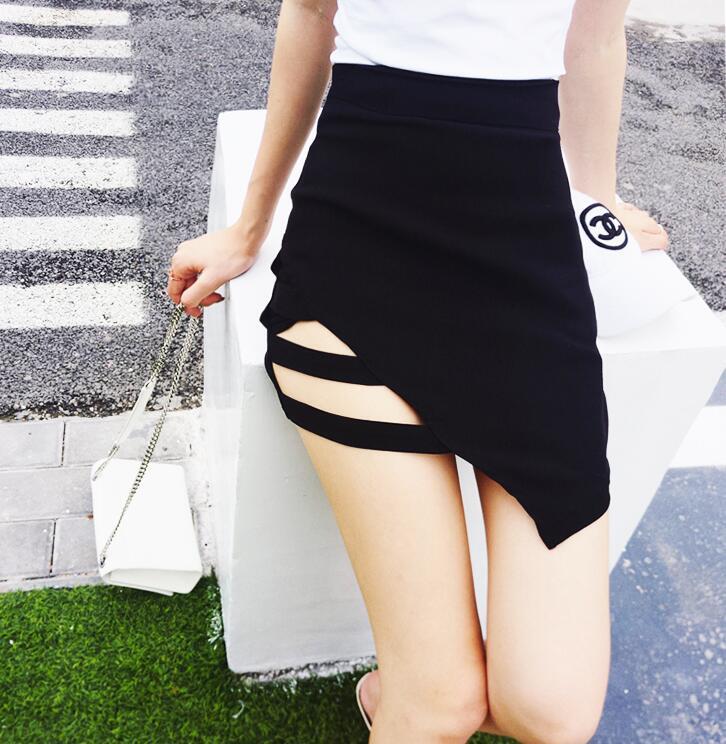Sexy Black Cutouts Irregular Mini Skirt On Storenvy