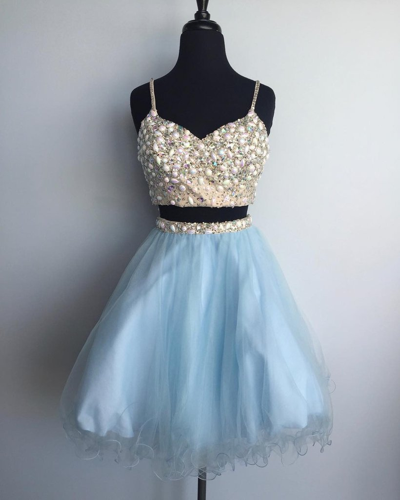f52fc519b7588 Cute blue tulle two pieces homeocming dress beaded short prom dress jpg  820x1024 Cute blue clothes