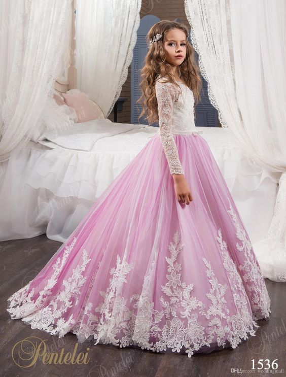 0e803c0aadb6c Vintage Princess Floral Lace Arabic 2017 Flower Girl Dresses Long Sleeves  Tulle Child Dresses Beautiful Flower Girl Wedding Dresses ,10