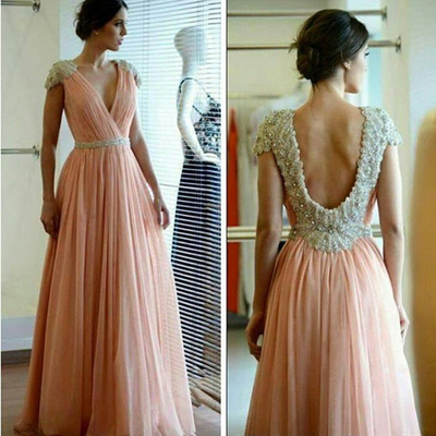 Fashion v-neck open back cap sleeves beading crystal prom evening dresses  long floor length a1fbd5c8d017