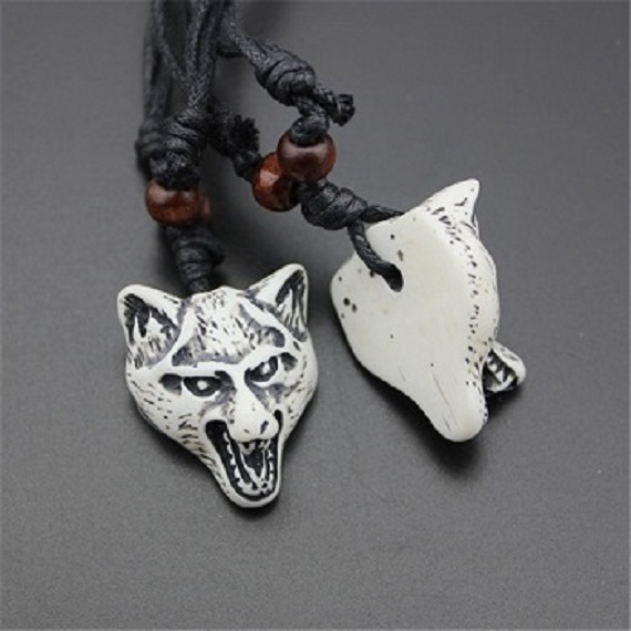 Arthwick Store Illustration of a Tribal Wolf on White Pendant Necklace