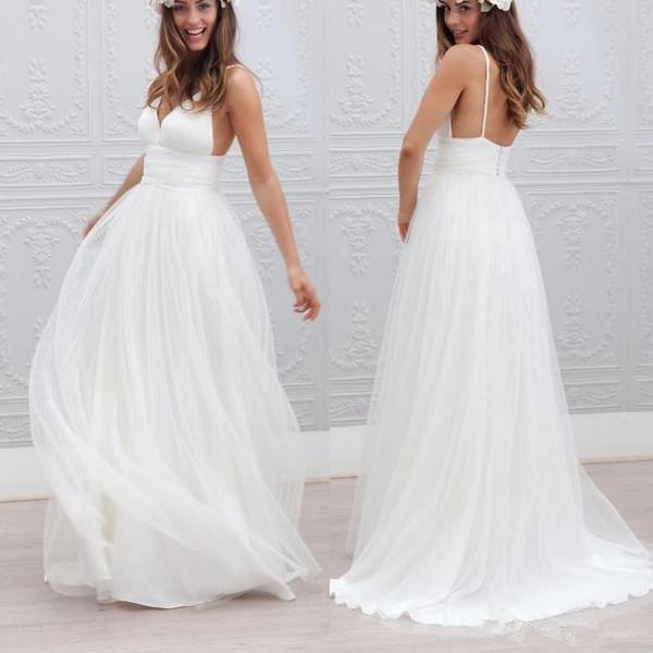 Beach Spaghetti Strap Wedding Gown: Hot Sales Spaghetti Straps V Neck Simple Beach Bridal