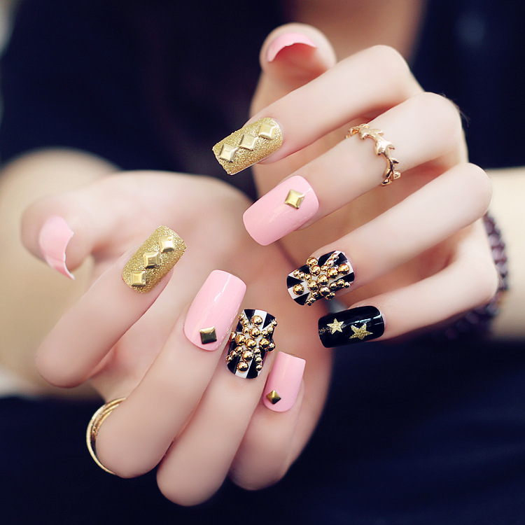black gold pink french manicure nail art, all sizes fake nails, faux ...