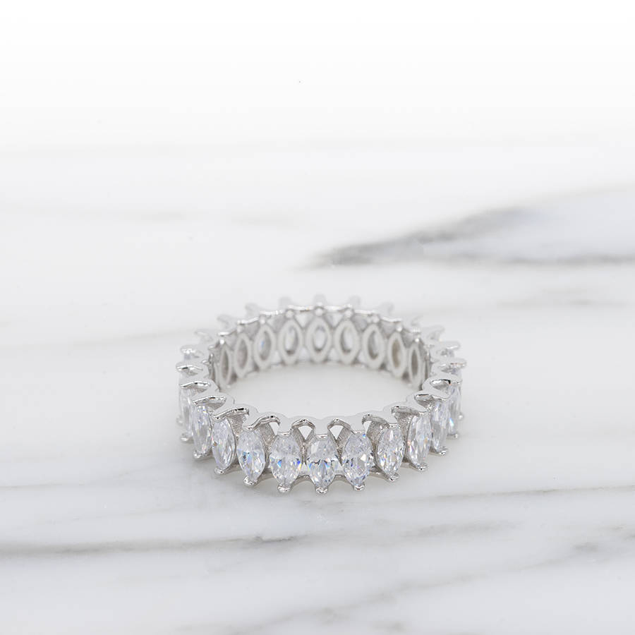 This is an image of 44.44 mm Marquise Cut Full eternity milgrain Bezel CZ Ring White gold plated stacking ring stacking ring Eternity Band Wedding ring