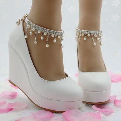 White wedges pumps high heels platform wedges shoes tassel wedges heels