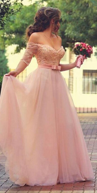 Princess Sweetheart Half Sleeve Tulle Prom Dress With ...