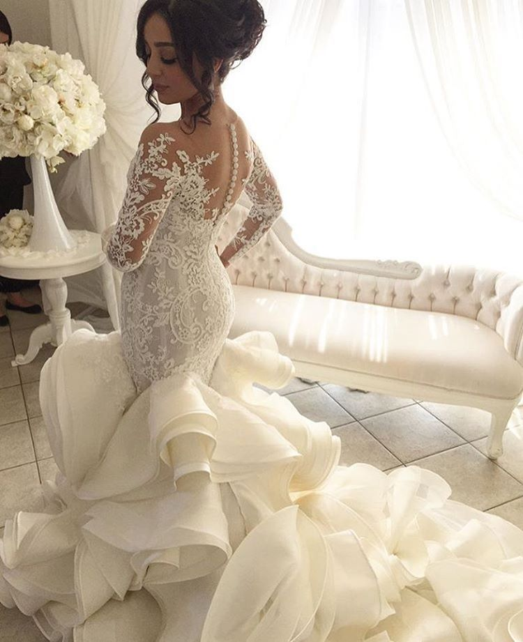 Wedding Gowns Mermaid: Vestido De Noiva Vintage Wedding Dresses With Sheer Long