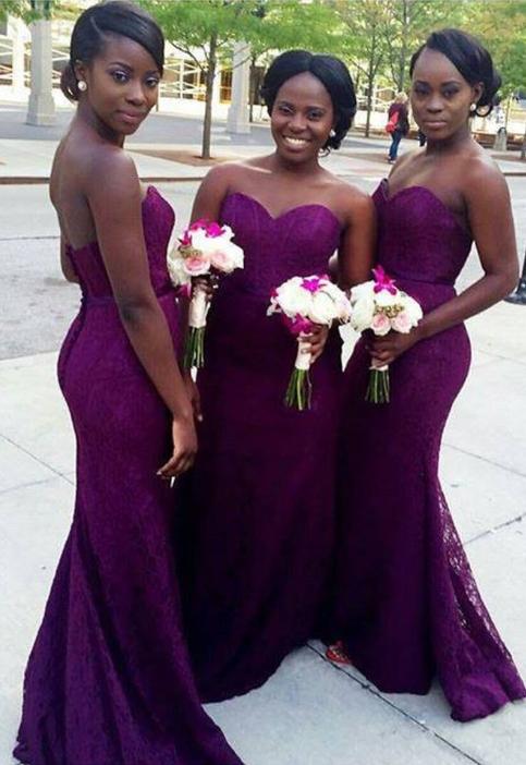 Purple Mermaid Lace Bridesmaid Dresses Sweetheart Long