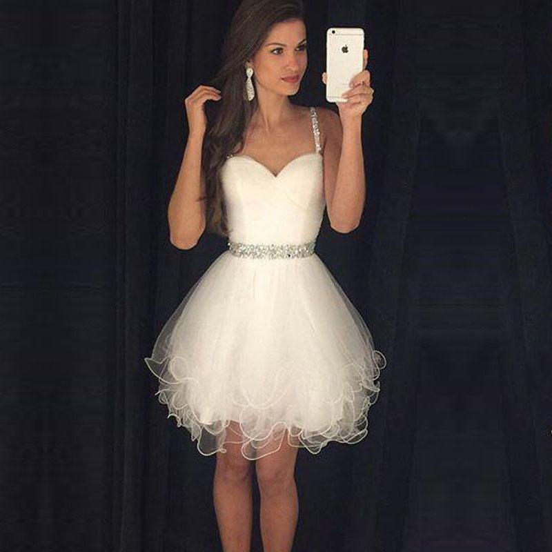 Short Ivory Homecoming Dresses