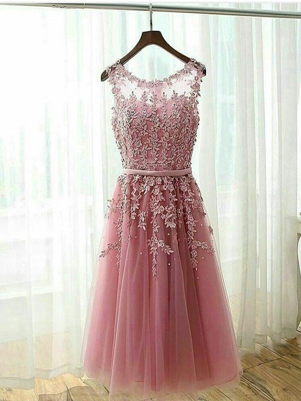 a4c011280b4 Rose Pink Tulle Sheer Back Bridesmaid Dress With Lace Appliques ...