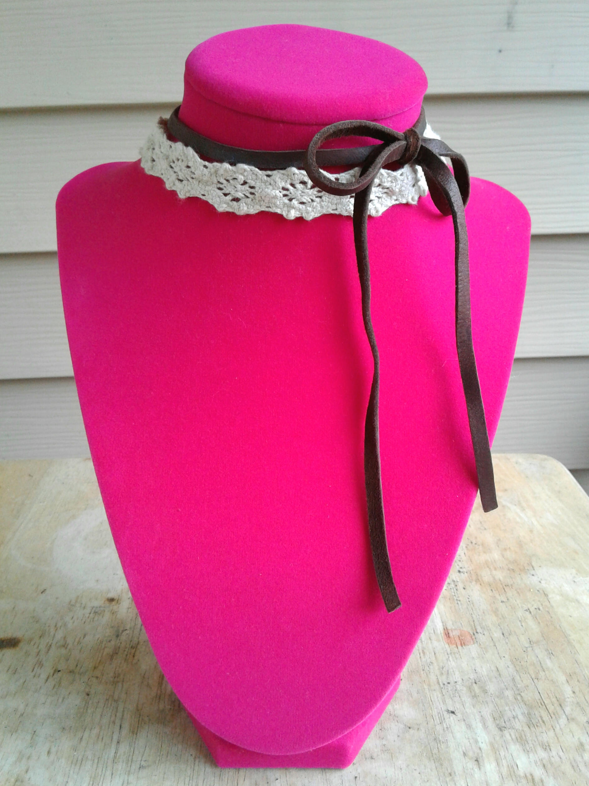 Layered Brown Leather Bow Choker And White Ivory Lace Choker Layered Choker  Necklaces Women s Chokers Layered 9273bdd803