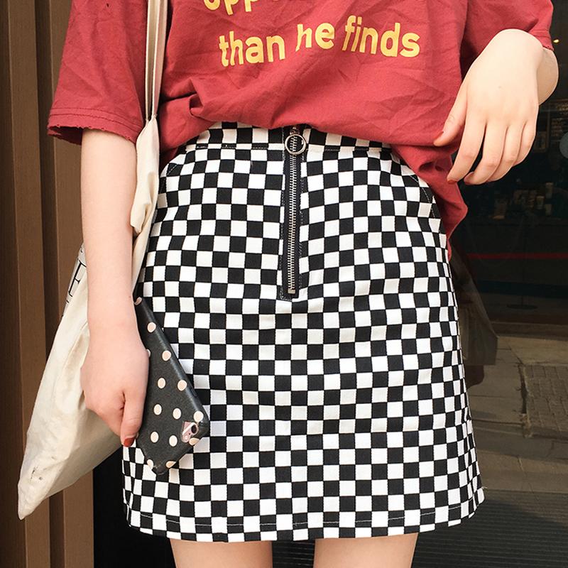66a287f9e 2017 summer korean style black white plaid high waist slim a line female  skirts original