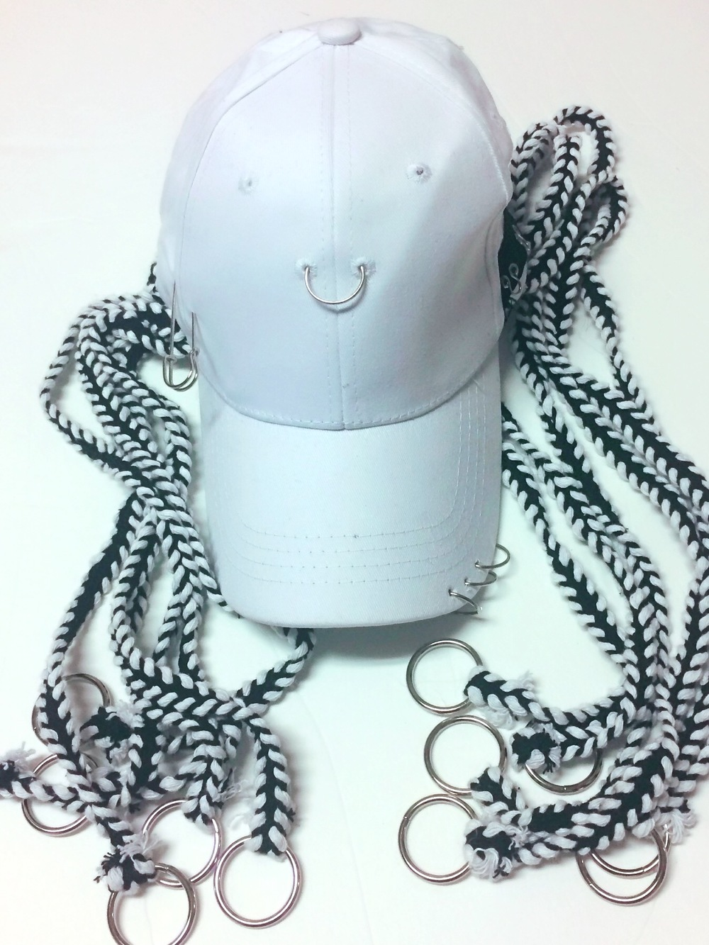 2778f654669c5 WHITE PIERCED BLACK   WHITE DREADED CAP · Suicide Bad Doll Bowtique ·  Online Store Powered by Storenvy