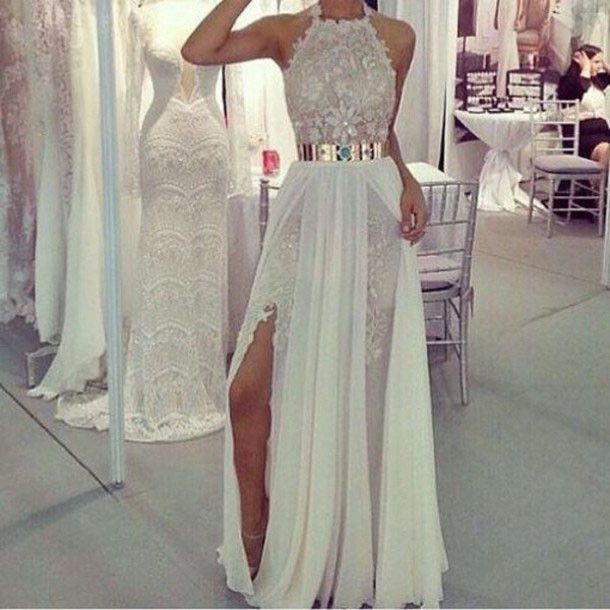 Sexy Sheathcolumn Long Prom Dresses Halter Lace Formal Evening