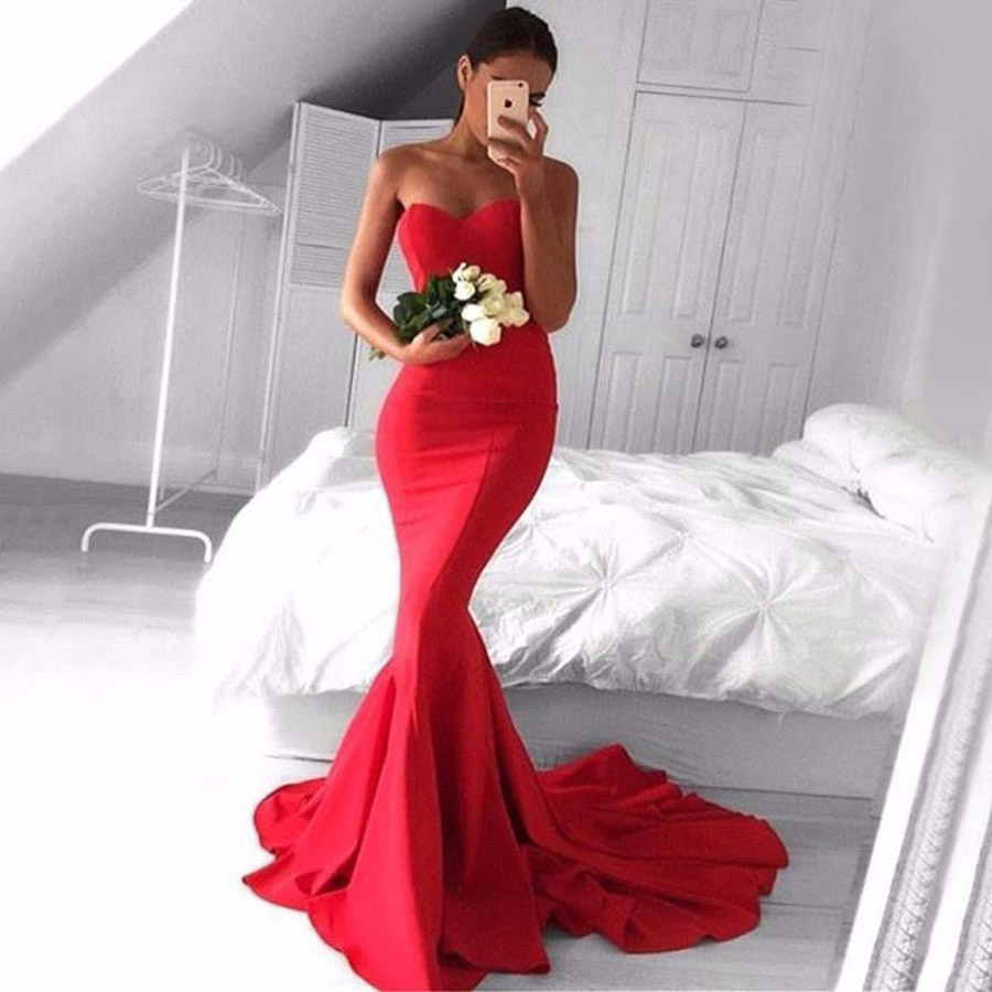 8d3a99eb9b0c Top Trumpet/Mermaid Backless Red Prom Dresses, Sweetheart Long ...
