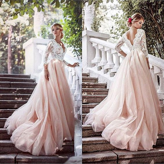 Blush Tulle Prom Dress Blush Long Dress Blush Wedding