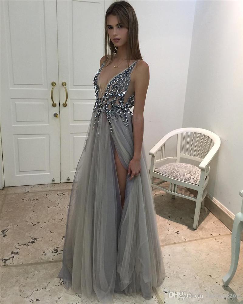 c12bf0130d Deep v neck long gray tulle sexy beading prom dress