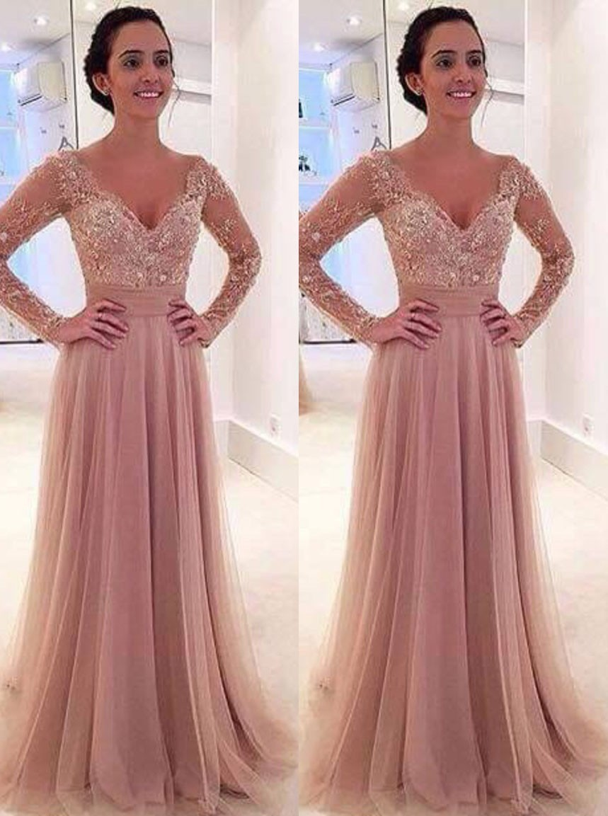 A Line V Neck Two in One Tulle Nude Pink Prom Dress with Long ...