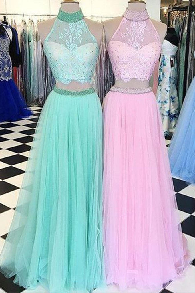 091a7471bc Cute tulle two pieces lace halter long pink evening dresses