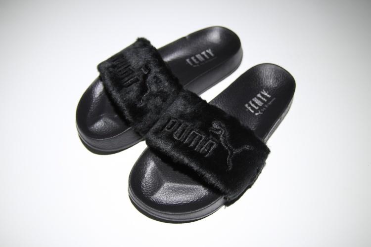 20801615a880 Fashion Puma Fenty Fur Slide All Black Slippers on Storenvy
