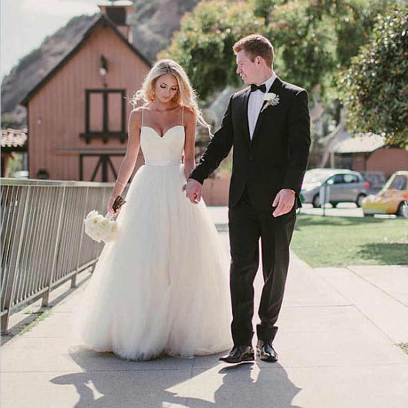 Pretty Wedding Dresses: Pretty Wedding Dresses,Spaghetti Straps A-line Tulle Ivory