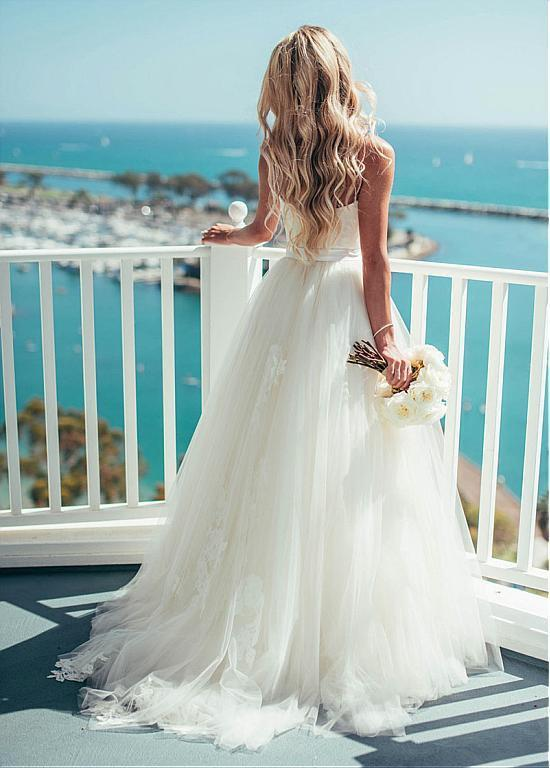 24002400f3 Pretty Wedding Dresses,Spaghetti Straps A-line Tulle Ivory Wedding Dresses,Summer  Wedding