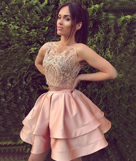 0e2027a120d05 Cute lace two pieces short prom dress, homecoming dress · Dreamy ...