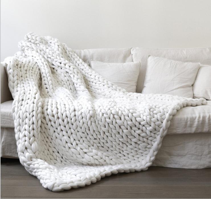 White Chunky Knit Blanket Knitted Blanket