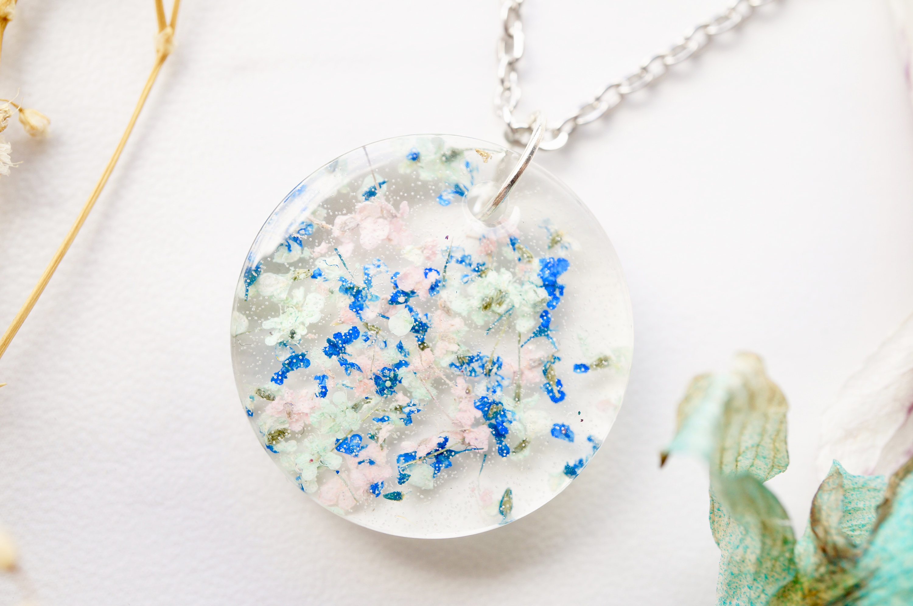 38 mm Pink Erica necklace in hemisphere from resin