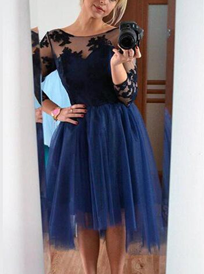 545905fa101 Modern A-Line Jewel Long Sleeves Tulle Short Homecoming Dress With Lace