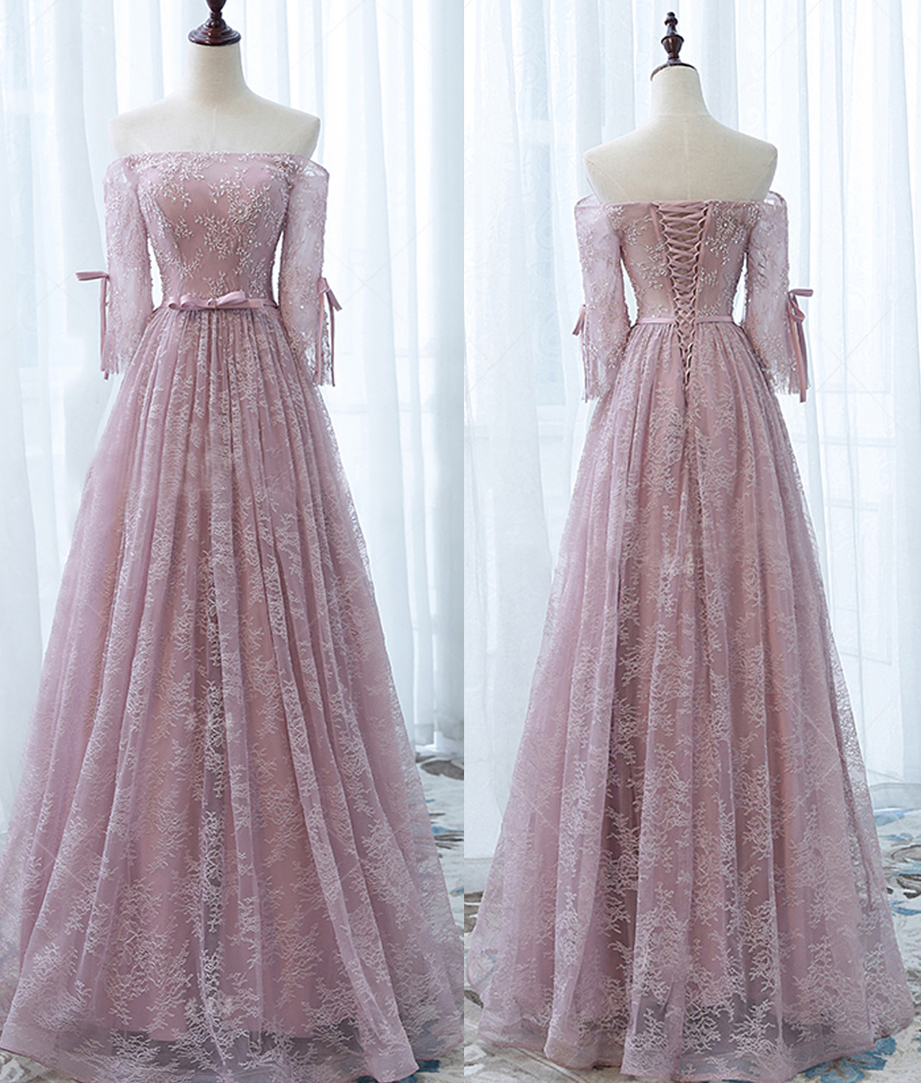 Princess Light Pink Lace Wedding Dress With Off The: Long Prom Dress,Off Shoulder Prom Dress, Vintage Princess