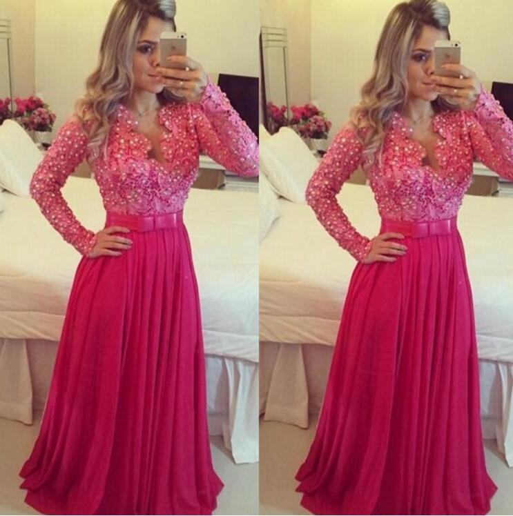 New Lace Prom Dresses Beaded Long Sleeves Chiffon Elegant Hot Pink