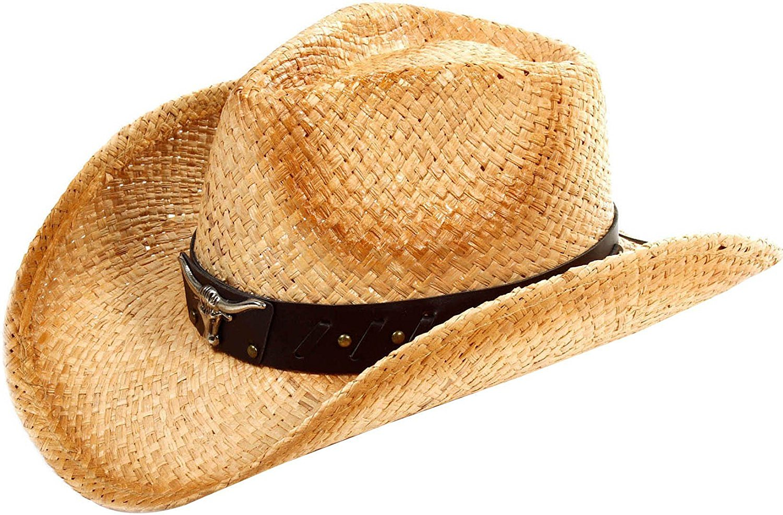 b425d2c72d6 Simplicity Men's & Women's Western Style Cowboy / Cowgirl Straw Hat ...