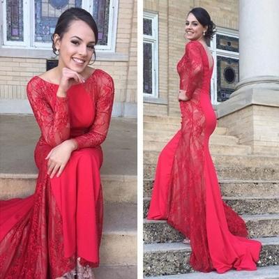 ec2778b3f3f9 E48 full sleeve bateau lace zipper sweep brush train mermaid red lace long sleeve  wedding dress