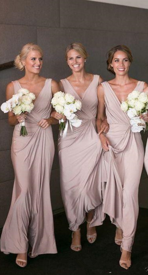 New Elegant Sheath Long Bridesmaid Dresses Deep V Neck