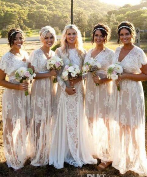 Vintage Chic Wedding Dresses: New Summer Bohemian White Sheer Lace Bridesmaid Dresses V