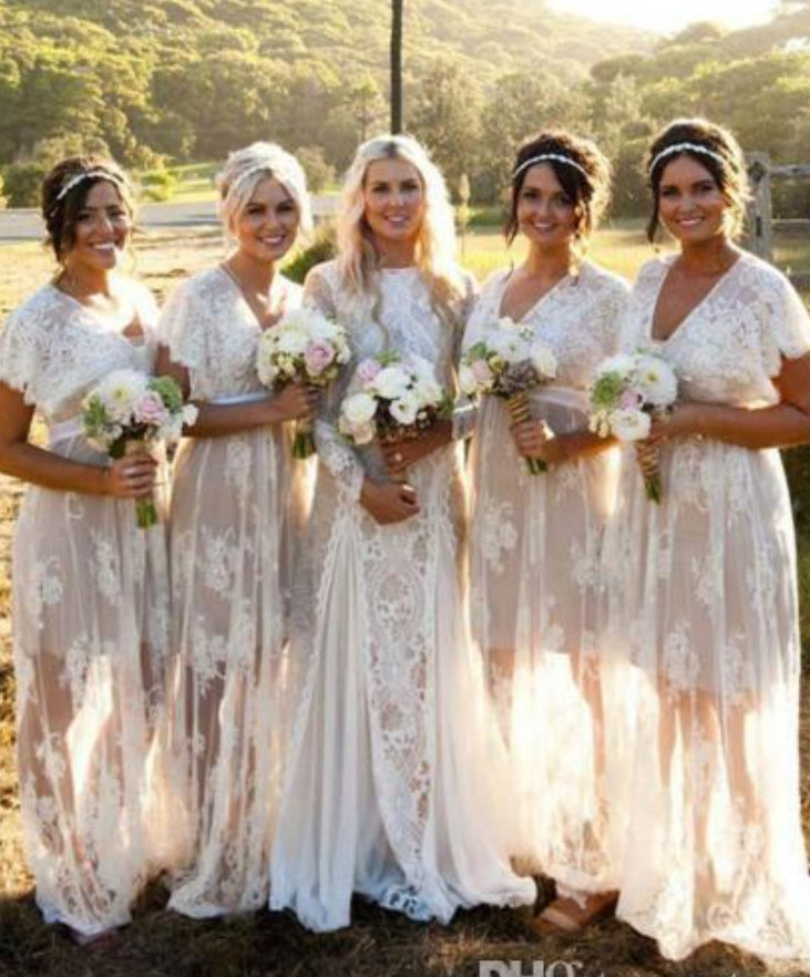 Plus Size Boho Wedding Dress.New Summer Bohemian White Sheer Lace Bridesmaid Dresses V Neck Short Sleeves Plus Size Boho Wedding Dresses Custom Made From Balladresses
