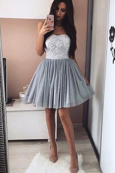 Grey Short Homecoming Dresses