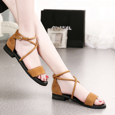 Flat shoes, women's shoes, one hand buckle cross strap wild low-heeled shoes