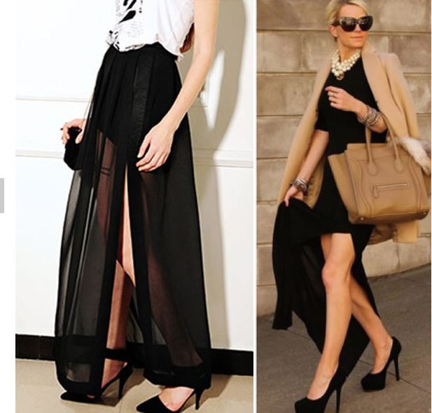 Free Shipping Vintage Black Side Split Pleated Maxi Skirt on Storenvy