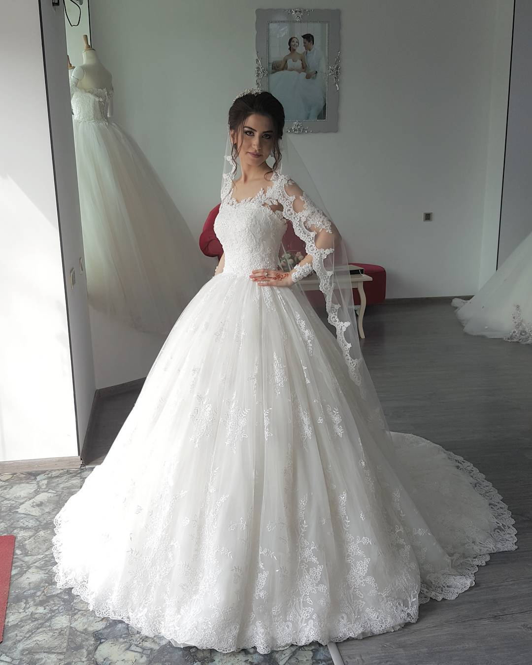 Ball Gown Long Sleeve Lace Wedding Dress,Lace Wedding Dresses,Ball ...
