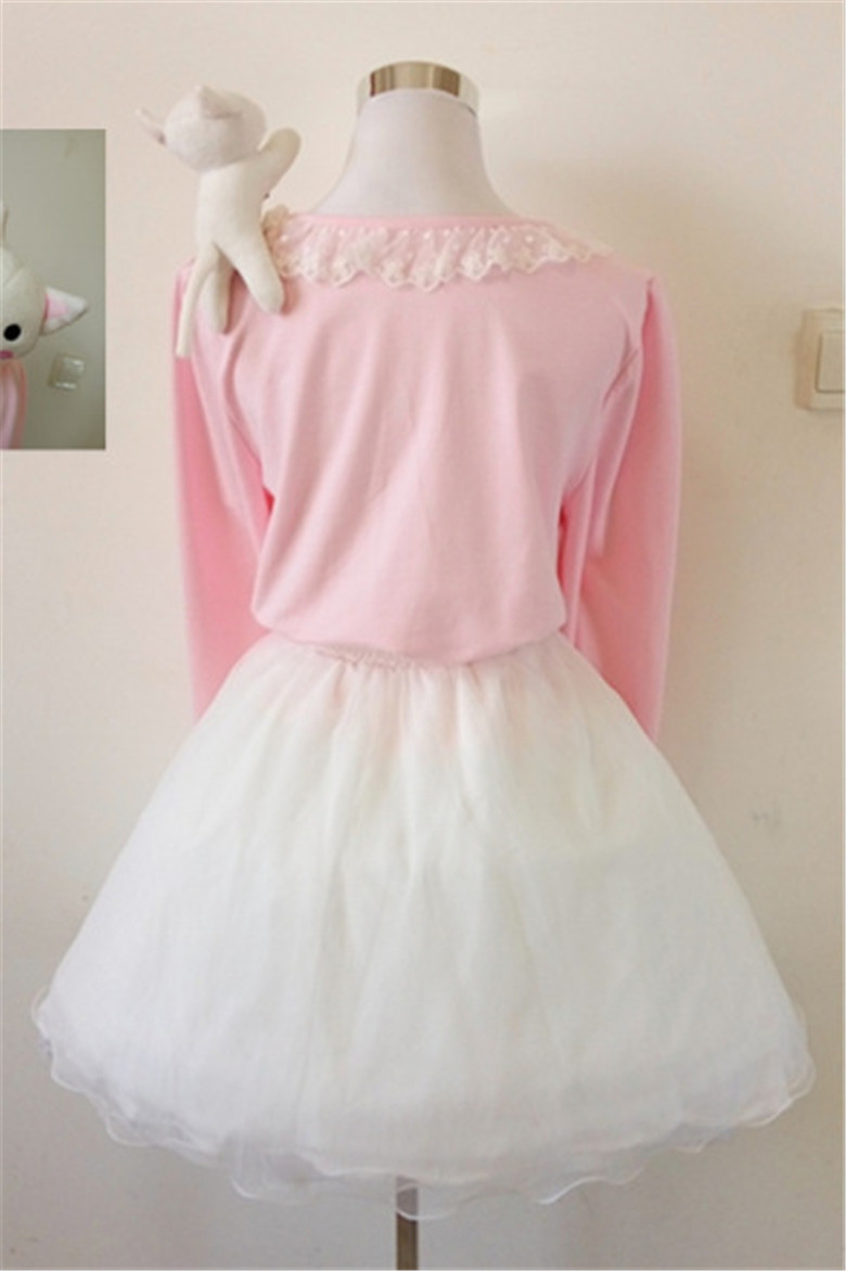 fc3aa14501 Pink 20cute 20shoulder 20cat 20laced 20long 20shirt 20kitty 20paw 20belt  20skirt 20dc4783 small