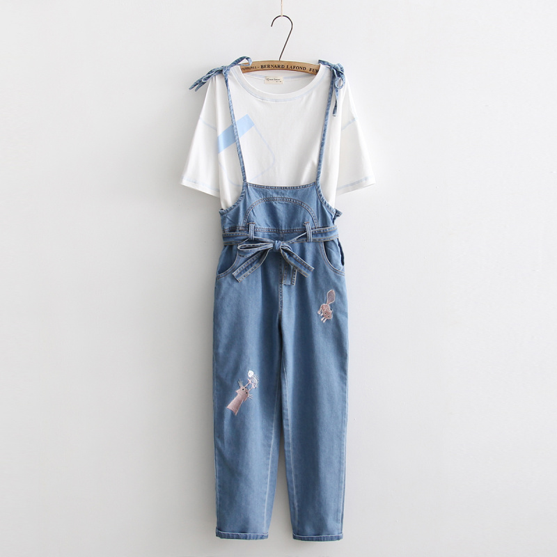5e3fda45bdc Kitty embroidery overall jeans on Storenvy